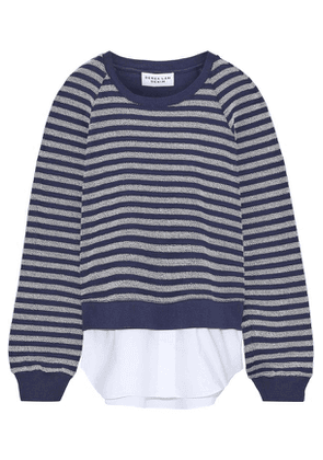 Derek Lam 10 Crosby Layered Striped French Cotton-blend Terry And Poplin Top Woman Blue Size XS