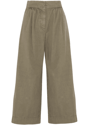 J.crew Gathered Cotton-twill Culottes Woman Army green Size 0