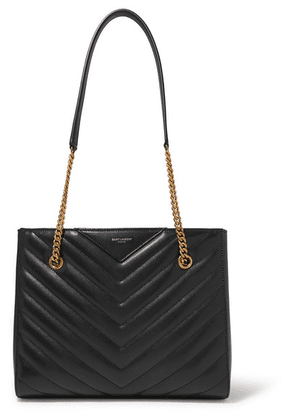 SAINT LAURENT - Tribeca Small Quilted Textured-leather Tote - Black