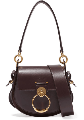 Chloé - Tess Small Leather And Suede Shoulder Bag - Dark purple