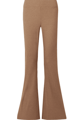 calé - Angelique Ribbed Stretch-jersey Flared Pants - Camel