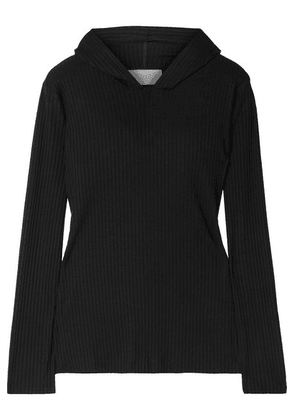 calé - Angelique Ribbed Stretch-jersey Hoodie - Black