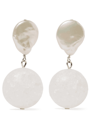 Anita Berisha - Structure Silver Pearl And Quartz Crystal Earrings - one size