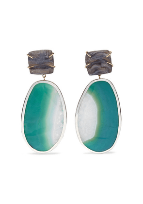 Melissa Joy Manning - 14-karat Gold And Sterling Silver Shell Druzy And Agate Earrings - one size