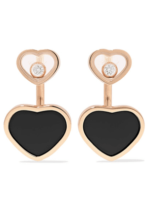 Chopard - Happy Hearts 18-karat Rose Gold, Diamond And Onyx Earrings - one size