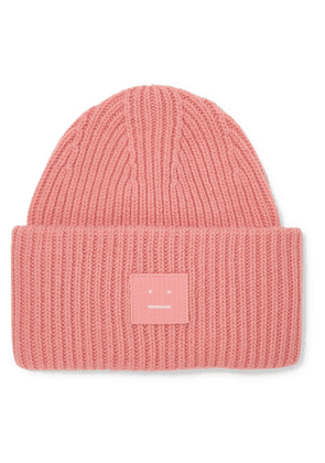 Acne Studios - Pansy Appliquéd Ribbed Wool Beanie - Pink