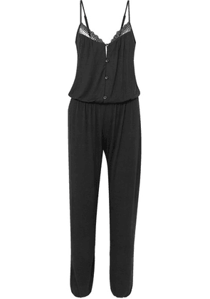 Eberjey - Lucie Lace-trimmed Stretch-modal Jersey Jumpsuit - Black