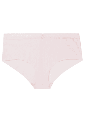 SIX - Josephine Leavers Lace-trimmed Stretch-jersey Briefs - Pink