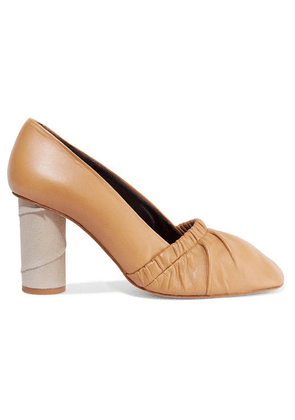 Loewe - Ruched Leather And Suede Pumps - Beige