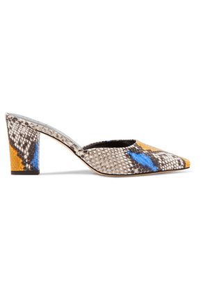 aeyde - Signe Snake-effect Leather Mules - Snake print