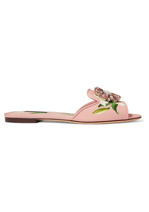 Dolce & Gabbana - Crystal-embellished Floral-print Canvas Slides - Antique rose
