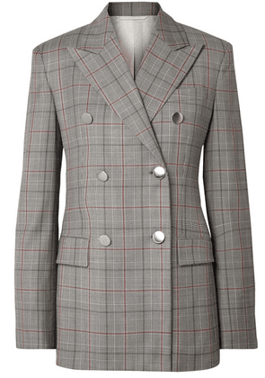 CALVIN KLEIN 205W39NYC - Double-breasted Prince Of Wales Checked Wool Blazer - Gray