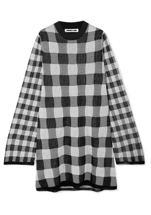 McQ Alexander McQueen - Checked Knitted Mini Dress - Gray