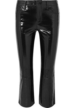 J Brand - Selena Cropped Glossed-leather Bootcut Pants - Black