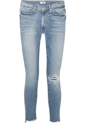 Mother - The Stunner Distressed High-rise Stretch Skinny Jeans - Mid denim