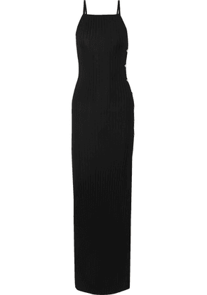Balmain - Button-embellished Ribbed Stretch-knit Maxi Dress - Black