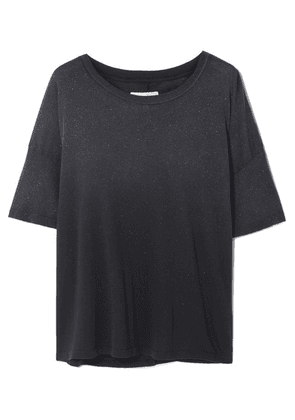 Current/Elliott - The Roadie Glittered Distressed Cotton-jersey T-shirt - Gray