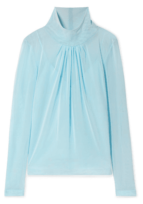 Victoria Beckham - Gathered Stretch-tulle Blouse - Sky blue
