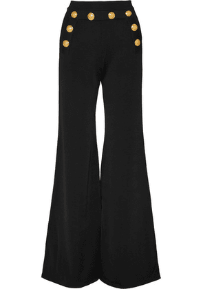 Balmain - Button-embellished Stretch-knit Flared Pants - Black
