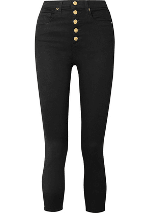 Veronica Beard - Debbie Cropped High-rise Skinny Jeans - Black