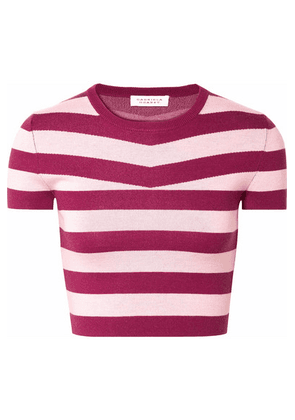 Gabriela Hearst - Cropped Striped Wool And Cashmere-blend Top - Blush