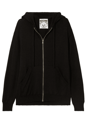 Moschino - Metallic Intarsia-knit Wool Hoodie - Black