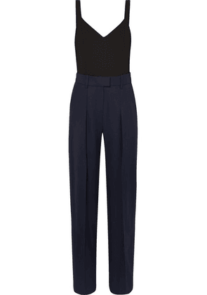 Victoria, Victoria Beckham - Two-tone Wool And Jersey Jumpsuit - Navy