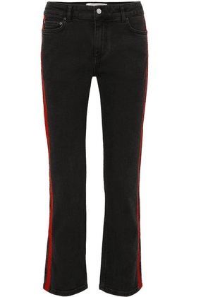Victoria, Victoria Beckham - Striped Cropped Slim-leg Jeans - Black