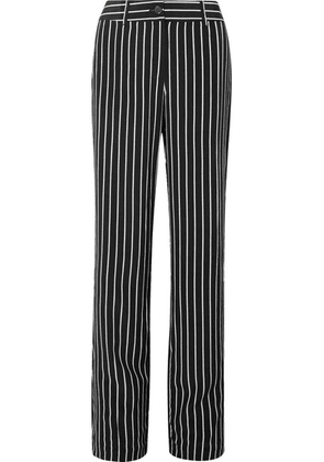 Equipment - Lita Striped Washed-silk Wide-leg Pants - Black