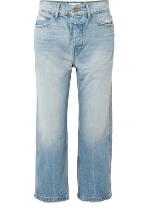 The Great - The Railroad Cropped Distressed Boyfriend Jeans - Mid denim