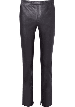 Helmut Lang - Leather Slim-leg Pants - Navy
