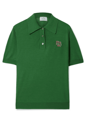Prada - Intarsia Wool Polo Shirt - Dark green