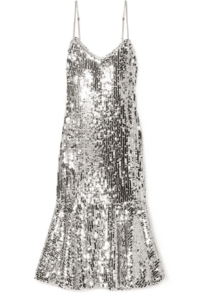Veronica Beard - Mykola Satin-trimmed Sequined Tulle Midi Dress - Silver