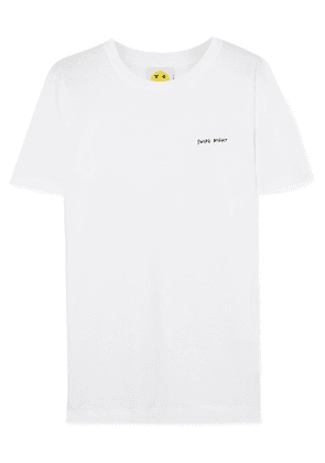 YEAH RIGHT NYC - Swipe Right Embroidered Cotton-jersey T-shirt - White