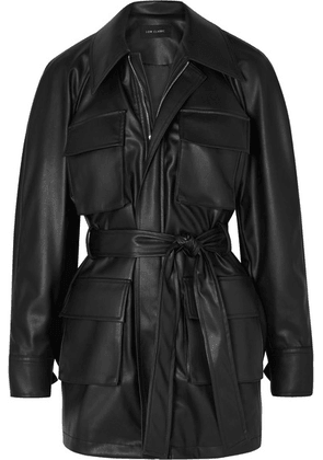 LOW CLASSIC - Belted Faux Leather Jacket - Black