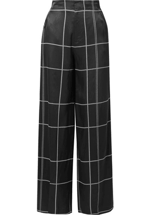 Equipment - Berneen Checked Satin Wide-leg Pants - Black