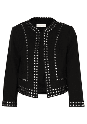 MICHAEL Michael Kors - Cropped Studded Crepe Jacket - Black