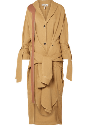Loewe - Tie-front Leather-trimmed Linen-blend Coat - Sand