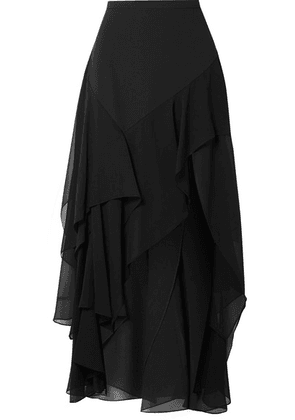 Michael Kors Collection - Tiered Silk-crepe And Georgette Maxi Skirt - Black