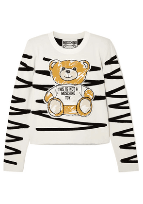 Moschino - Cropped Appliquéd Jersey Sweatshirt - White