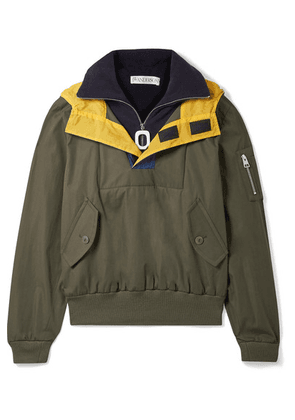 JW Anderson - Hooded Shell-trimmed Layered Cotton-drill And Fleece Jacket - Green