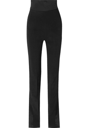 David Koma - Satin-trimmed Cady Slim-leg Pants - Black