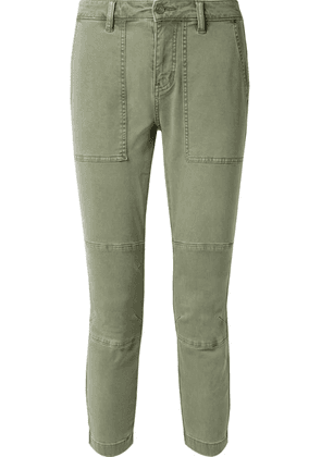 Current/Elliott - The Weslan Lace-up Cotton-blend Twill Slim-leg Pants - Army green