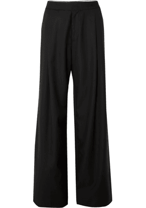 Wales Bonner - Satin-trimmed Wool-twill Pants - Black