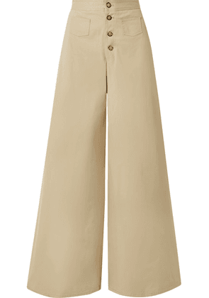 STAUD - Martin Cotton-blend Gabardine Wide-leg Pants - Beige