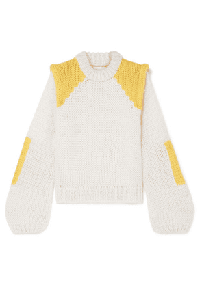 GANNI - Color-block Mohair And Wool-blend Sweater - Ivory