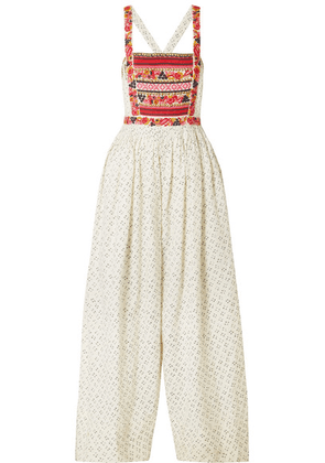 Ulla Johnson - Razi Embroidered Printed Linen And Cotton-blend Jumpsuit - Off-white