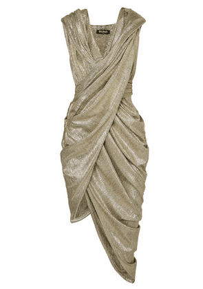 Balmain - Hooded Draped Metallic-knit Dress - FR42