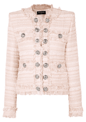 Balmain - Button-embellished Fringed Tweed Blazer - Pink
