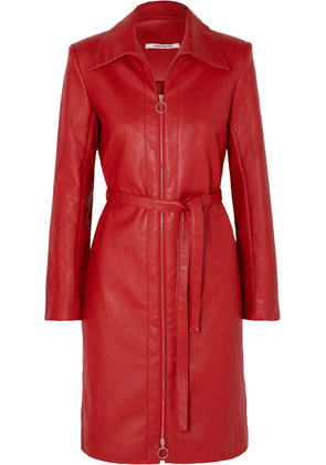 Orseund Iris - Belted Vegan Leather Jacket - Red